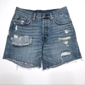 Levi's | 501 Distressed Button Fly Denim Shorts